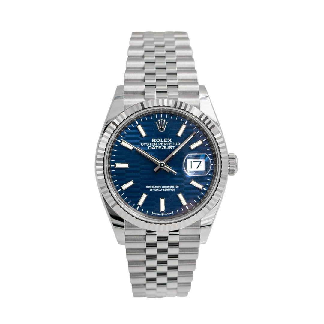 Rolex Oyster Perpetual Datejust 36 Blue Fluted Motif Soldier